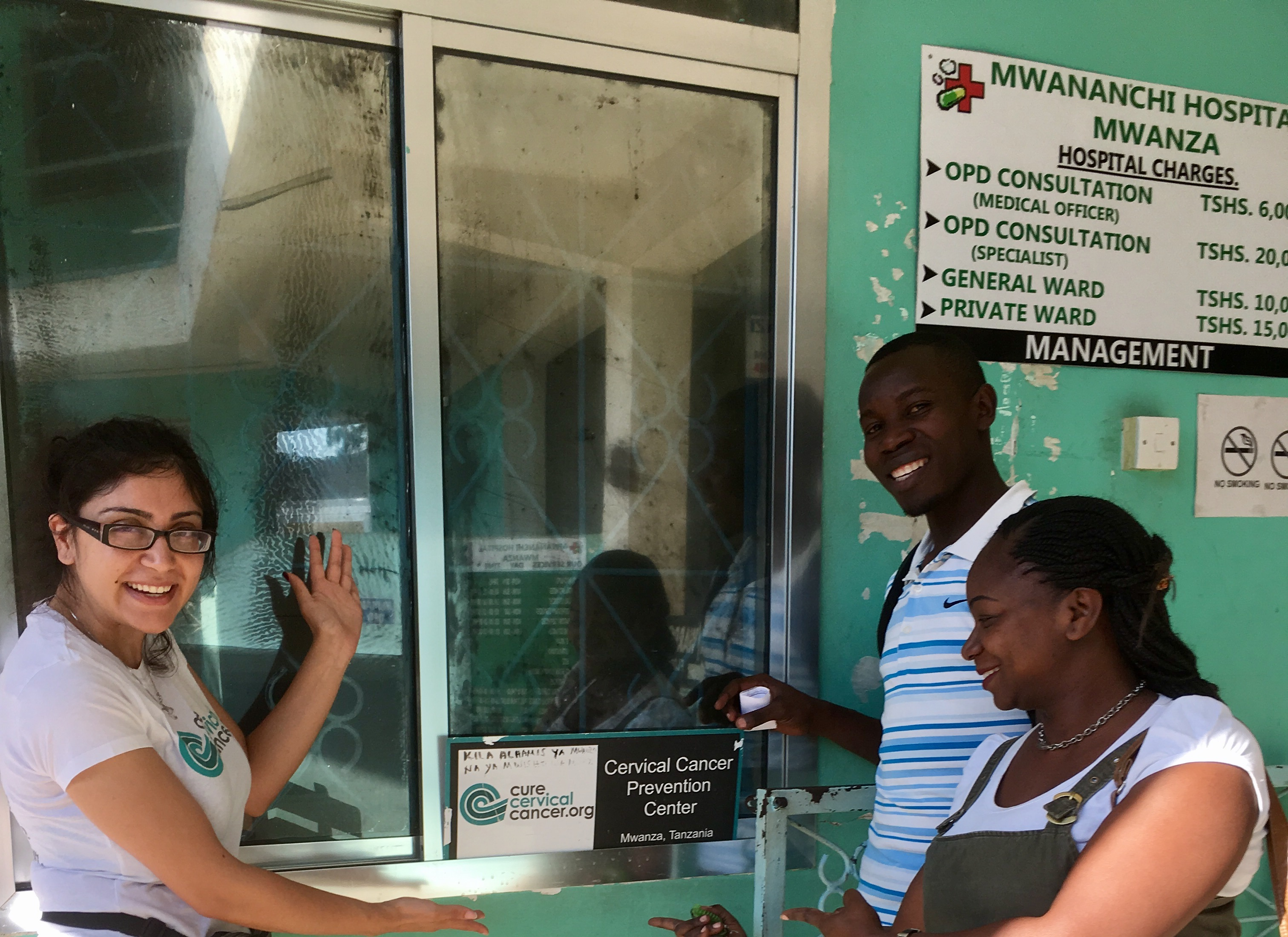 Our very own Program Coordinator Phorum Sheth standing with new CCC Global Trainee David and Matilda, our ground partner who′s currently overseeing CCC′s Cervical Cancer Prevention Program at Mwananchi Hospital in Mwanza, Tanzania.